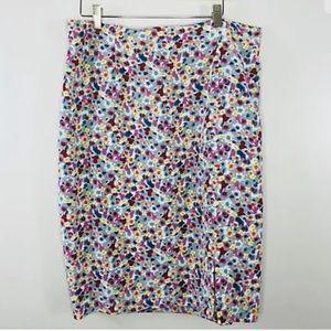 Diane Von Furstenberg Size 16 Floral Print Skirt